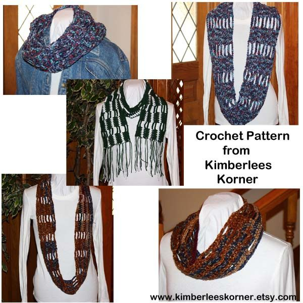 Crochet Pattern for cowl, scarf, infinity scarf - 3 versions available in one pattern