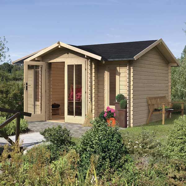 Maisonnette de jardin en bois 13,97m² Valanur - madriers 28mm - plan maisonnette en bois