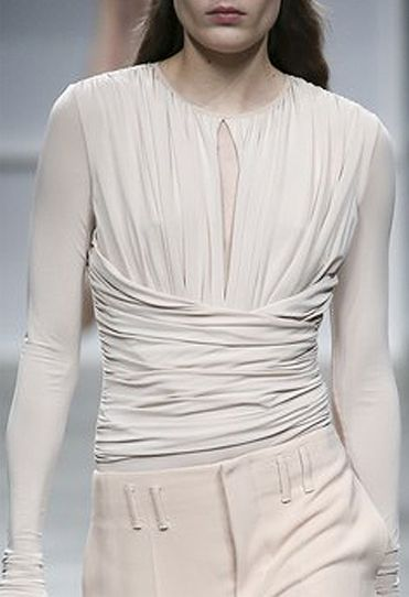Soft beige ruched top; chic fashion details // Aquilano Rimondi Fall 2016