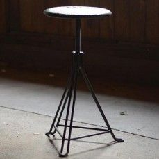 Industrial Stool | Square Desk Stool | Wire Plant Stand