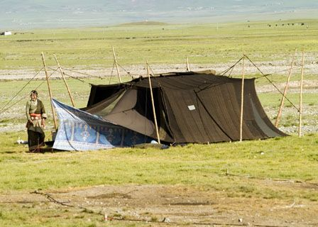 Traditional Tibetan black tent made of hand spun and hand woven yak hair. & Traditional Tibetan black tent made of hand spun and hand woven ...
