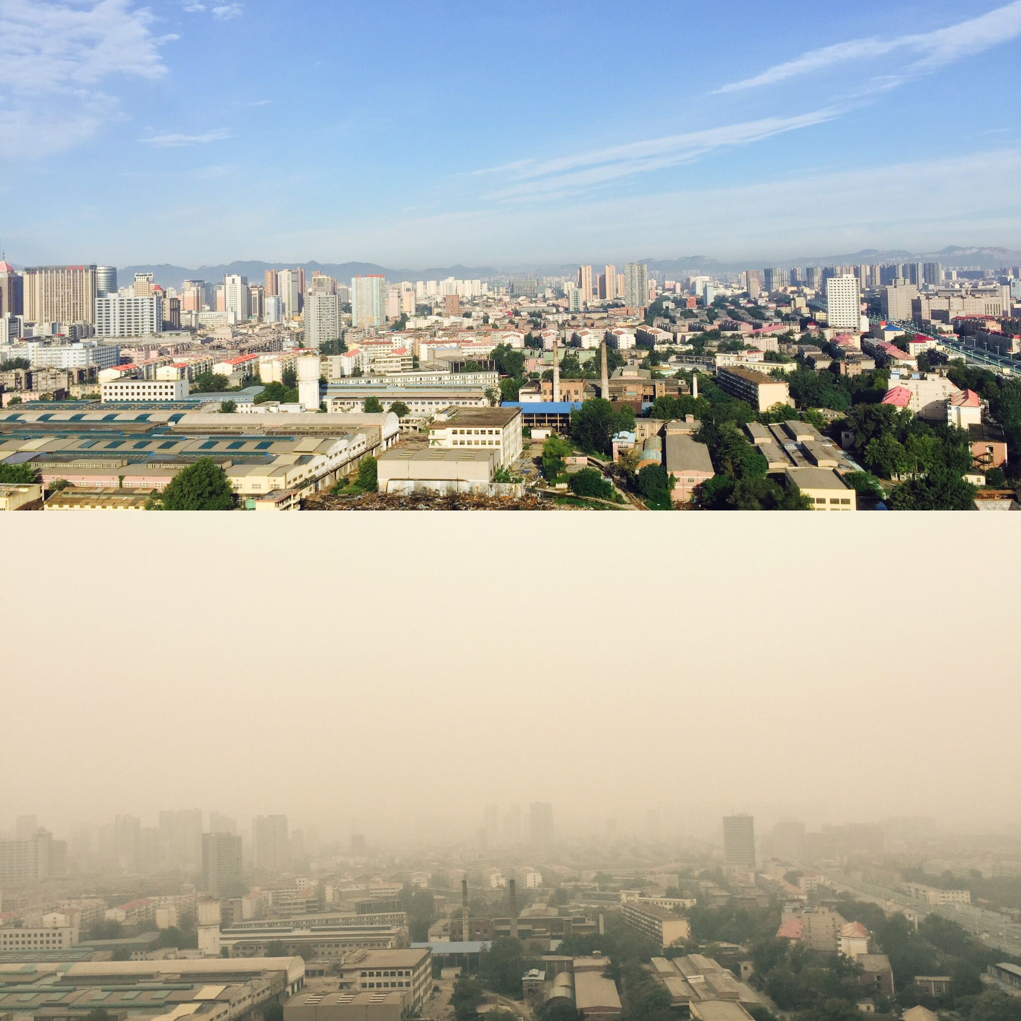 That Day and This Day—— Terrible Haze in Shijiazhuang China