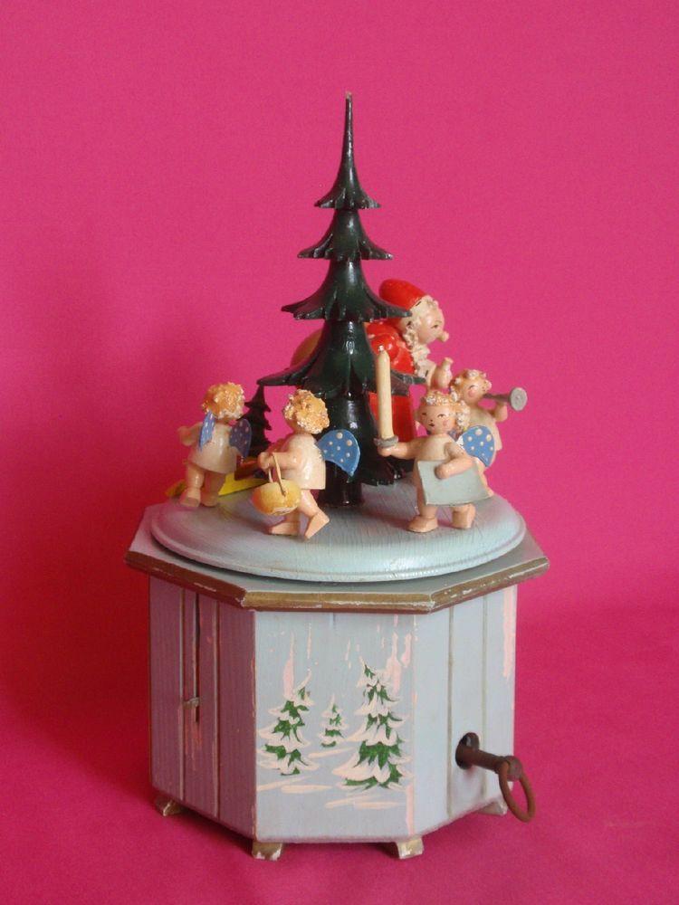 Vintage Christmas Steinbach German Wooden Music Box Swiss Thorens Santa Angels