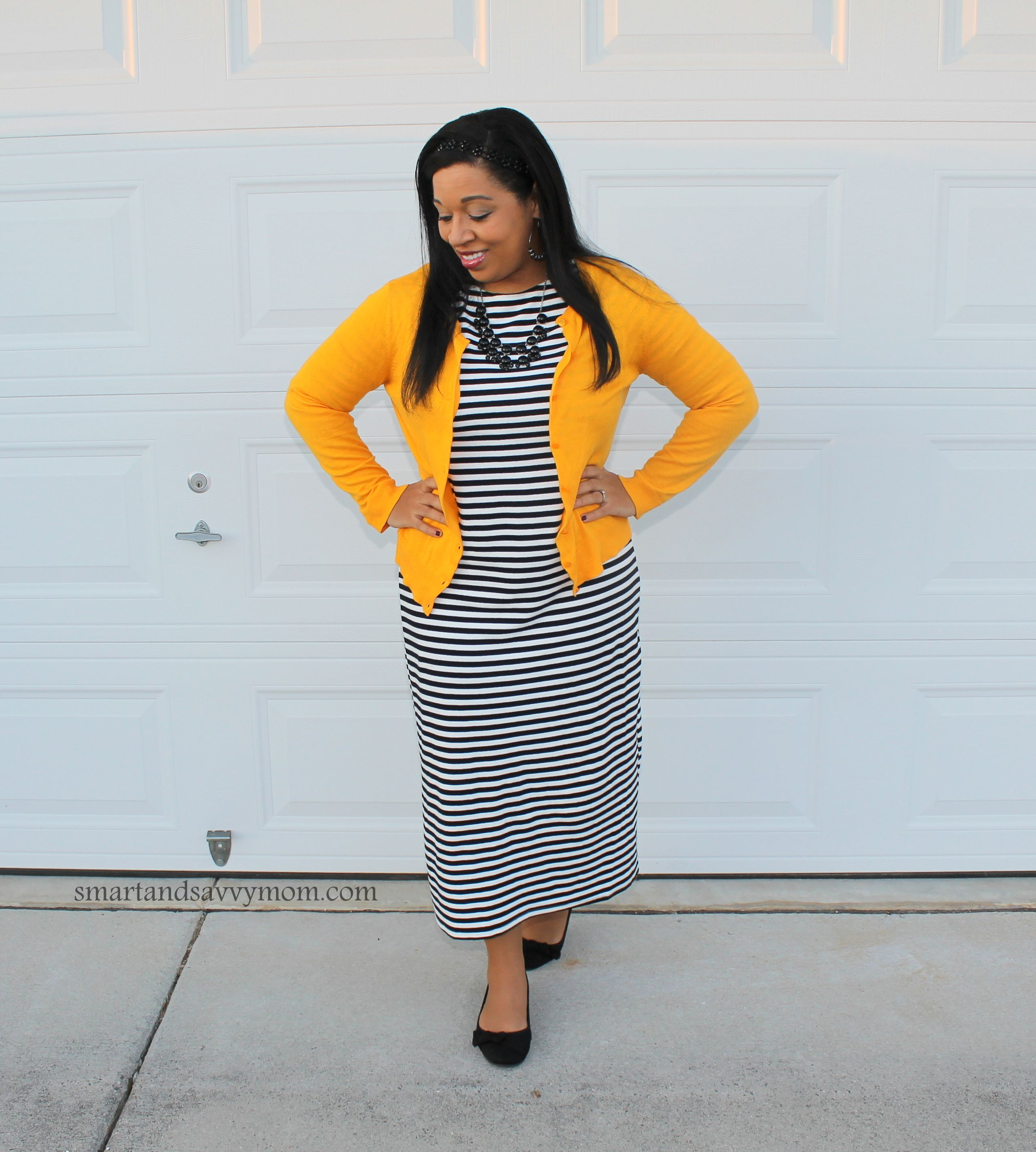 black and white striped midi dress with yellow cardigan modest ...