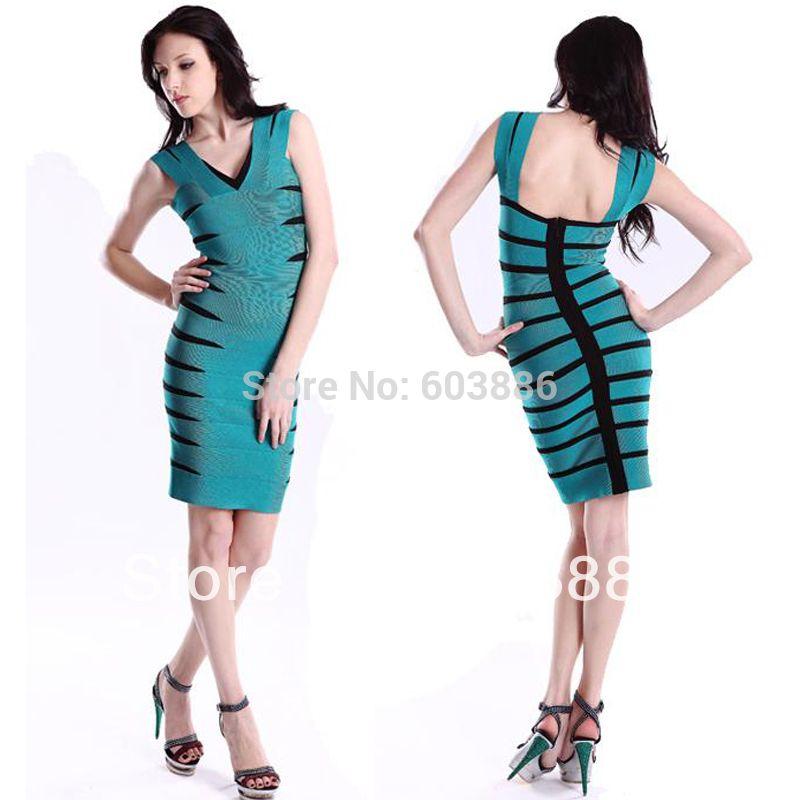 V-ausschnitt Bandage Kleid Bodycon Kleid Cocktail Party Kleid Blau ...