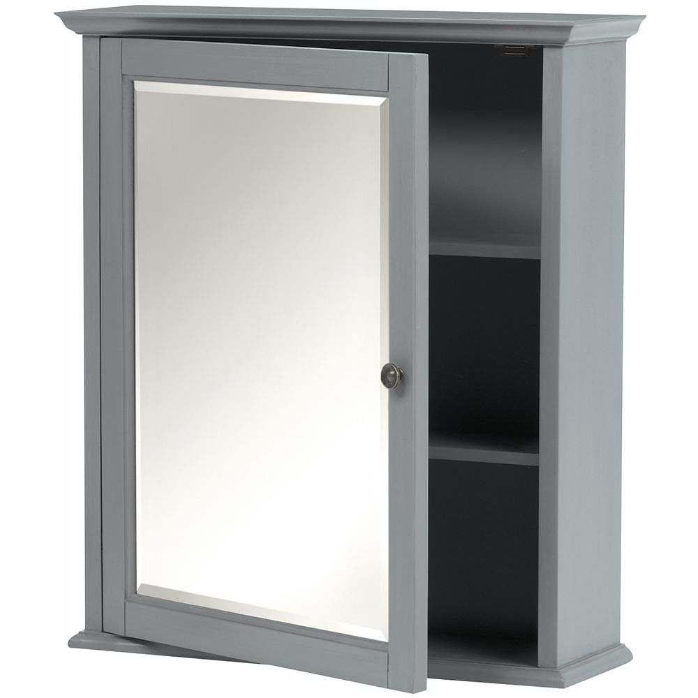 Home Decorators Collection Hamilton 27 in. H Mirrored Cabinet in Grey-0567500270 - The Home Depot