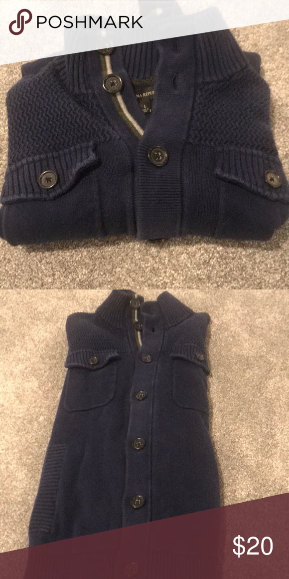 Men Blue Button Down Sweater