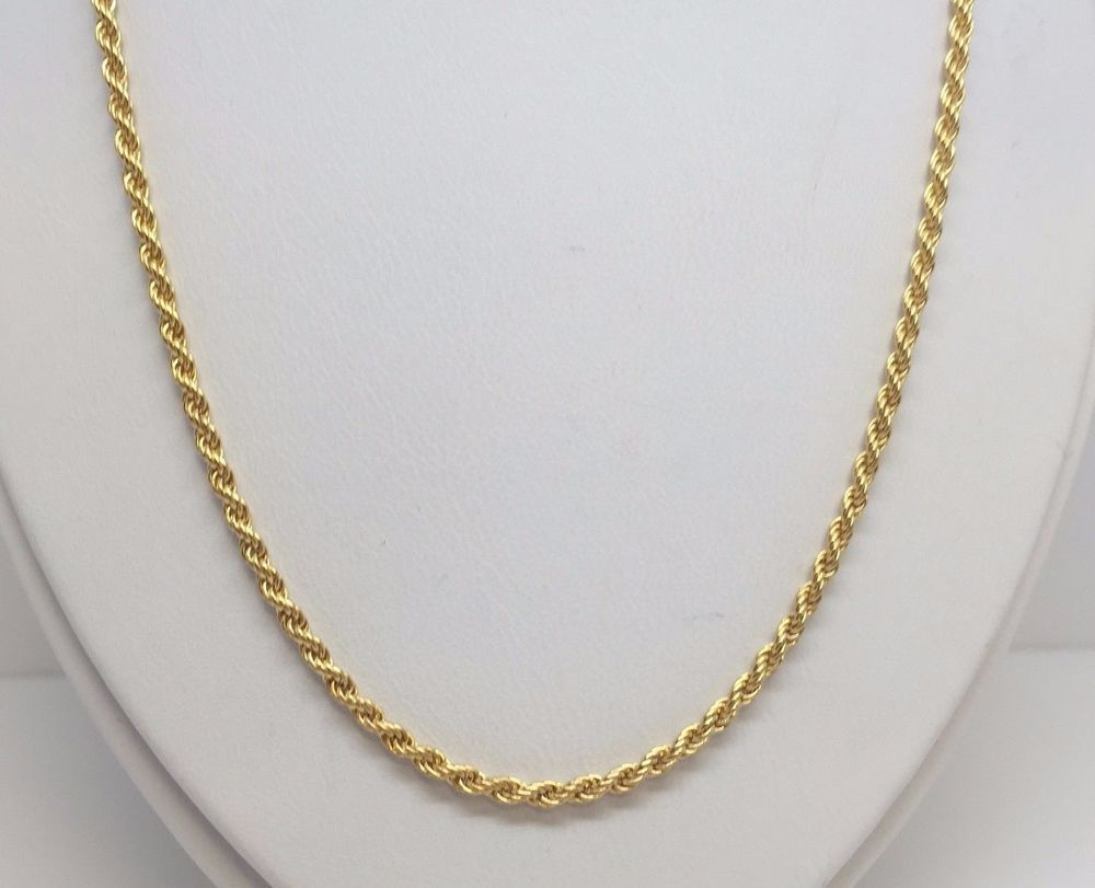 """14K YELLOW GOLD SOLID DIAMOND CUT ROPE CHAIN 30"""" 2.25 MM #Chain"""