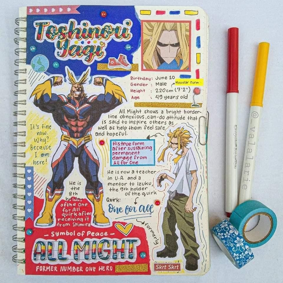All Might Anime Book Bullet Journal Themes Bullet Journal Japan