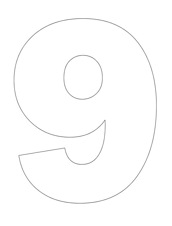 Number pictures to color number math and number for Number 9 cake template