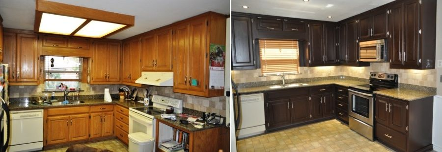 Before and after kitchens kitchen pinterest kitchens for Can i stain my kitchen cabinets darker