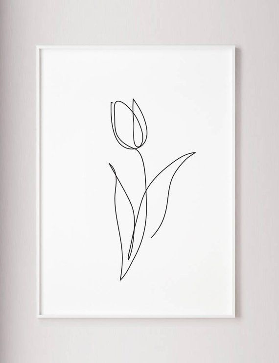 Tulip print, Flower wall art, Tulip one line art, Abstract minimalist decor, Line drawing, Wabi sabi art, Black and White wall art, poster