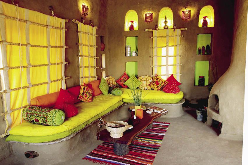 Baithak or lounging area of a cottage.jpg   Indian home ...