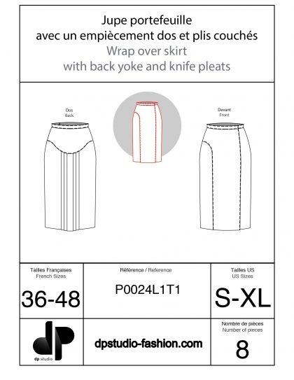 Jupe portefeuille, avec un empiècement dos et des plis