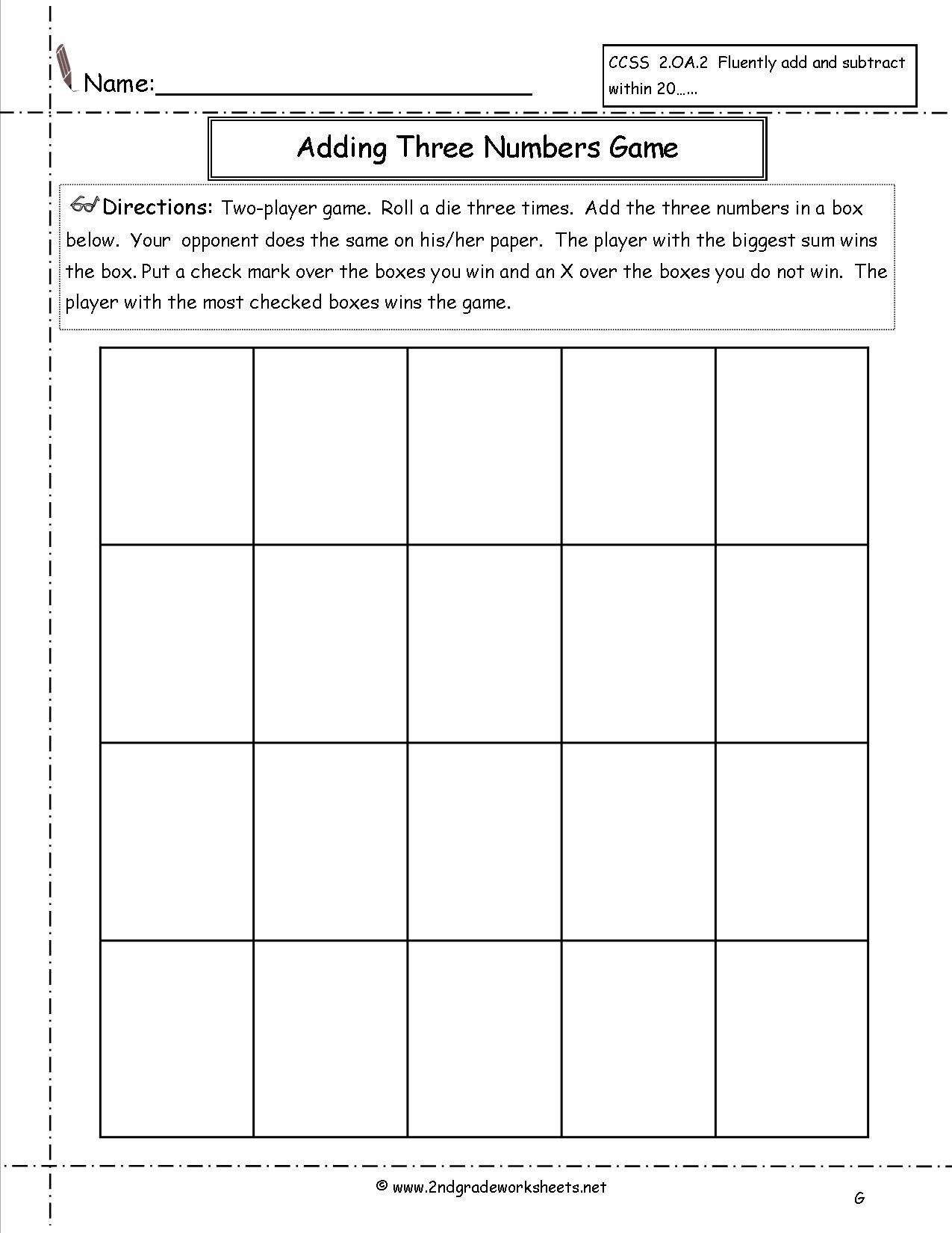 Adding Three Numbers Worksheet Add Three Numbers Worksheet