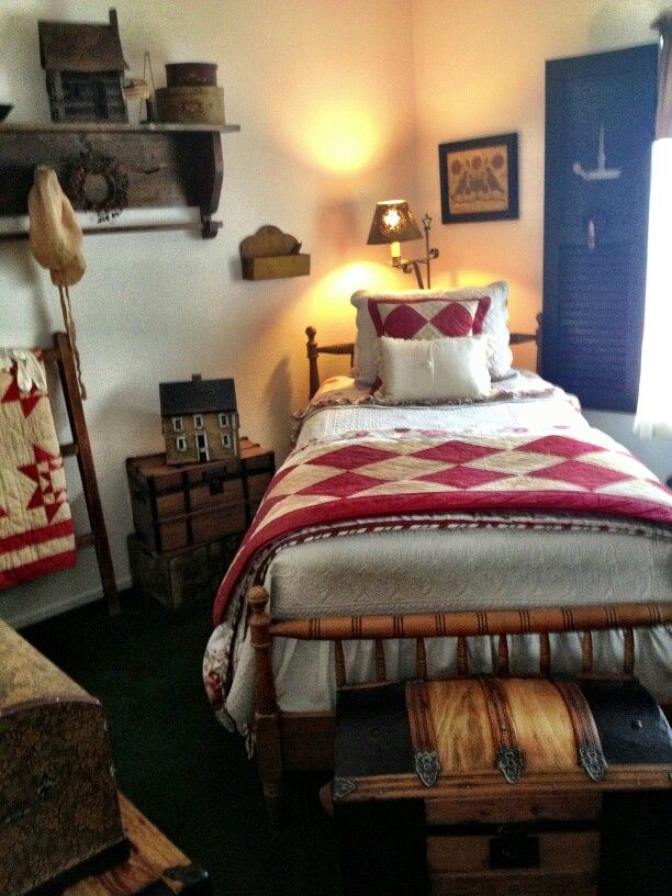 cheap primitive country bedroom decorating ideas | I know a lot of this is not period correct, but I love the ...