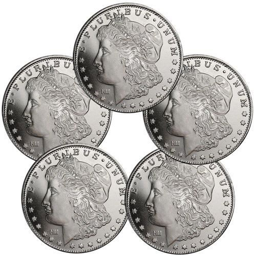 Lot Of 5 Morgan Dollar Design 1 Troy Oz 999 Fine Silver Rounds Sku31047 Morgan Dollars Fine Silver Silver Rounds