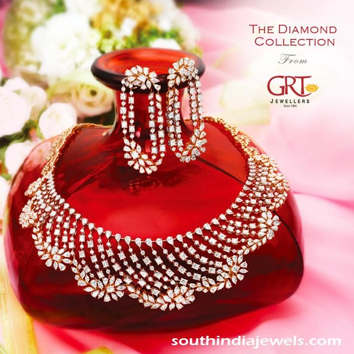 0148e6995e1bd Diamond Necklace Set and Earrings from GRT | Diamond collection ...