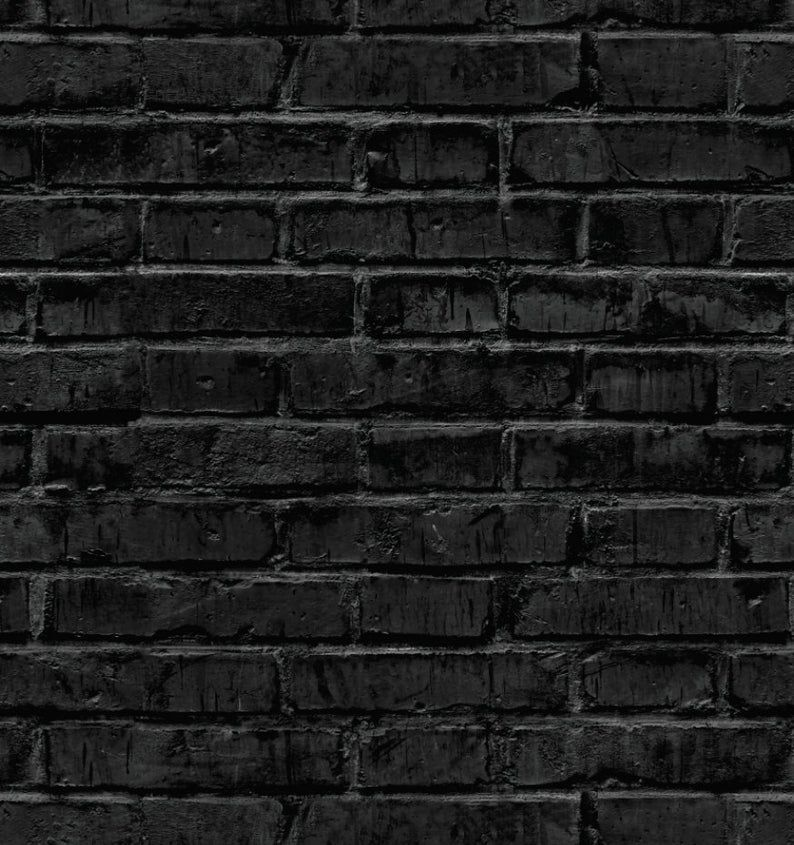 Black Brick Wallpaper Removable Wallpaper Peel And Stick Etsy Black Brick Wallpaper Removable Brick Wallpaper Black Brick