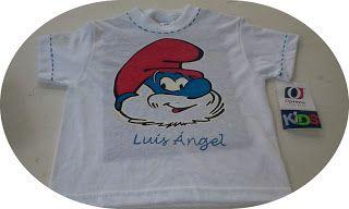 camiseta pintada a mano papa pitufo