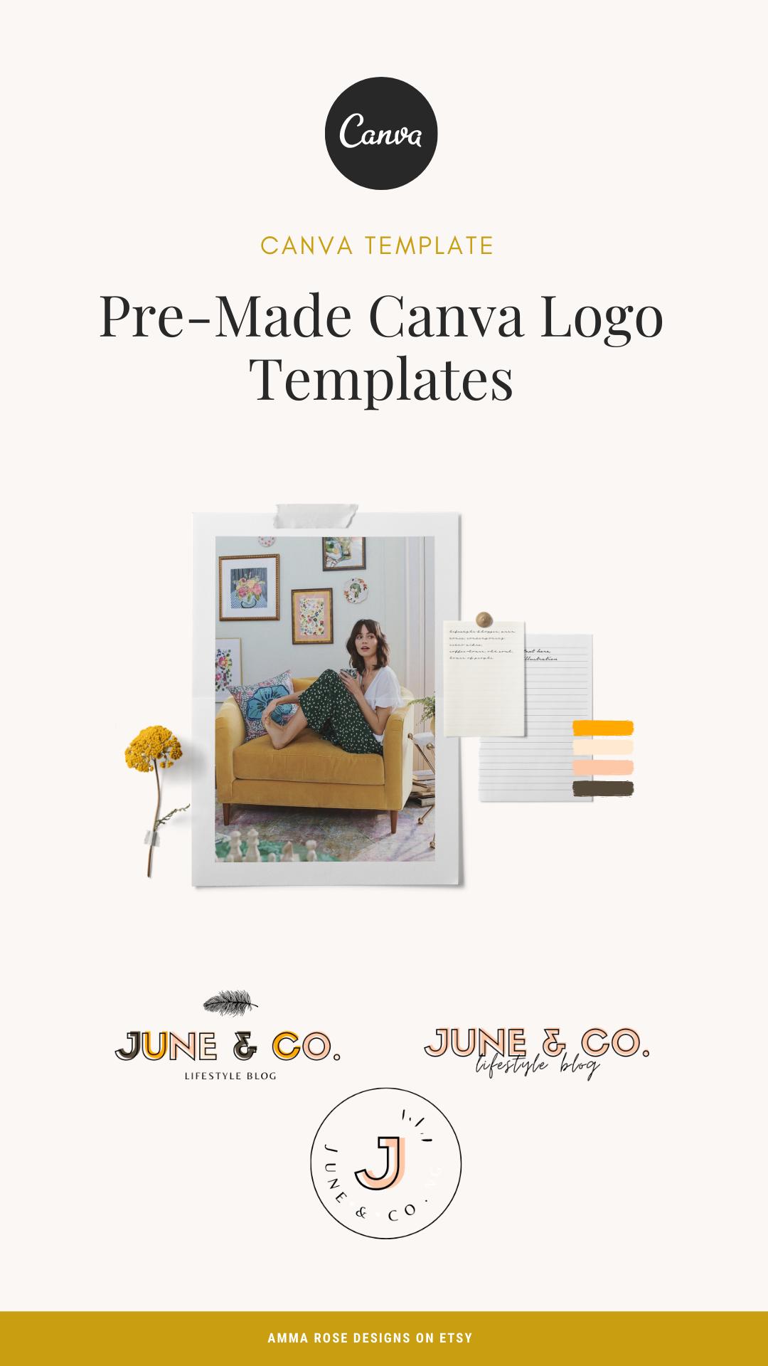 Canva PreMade Logo Templates Canva Logo Design Logo