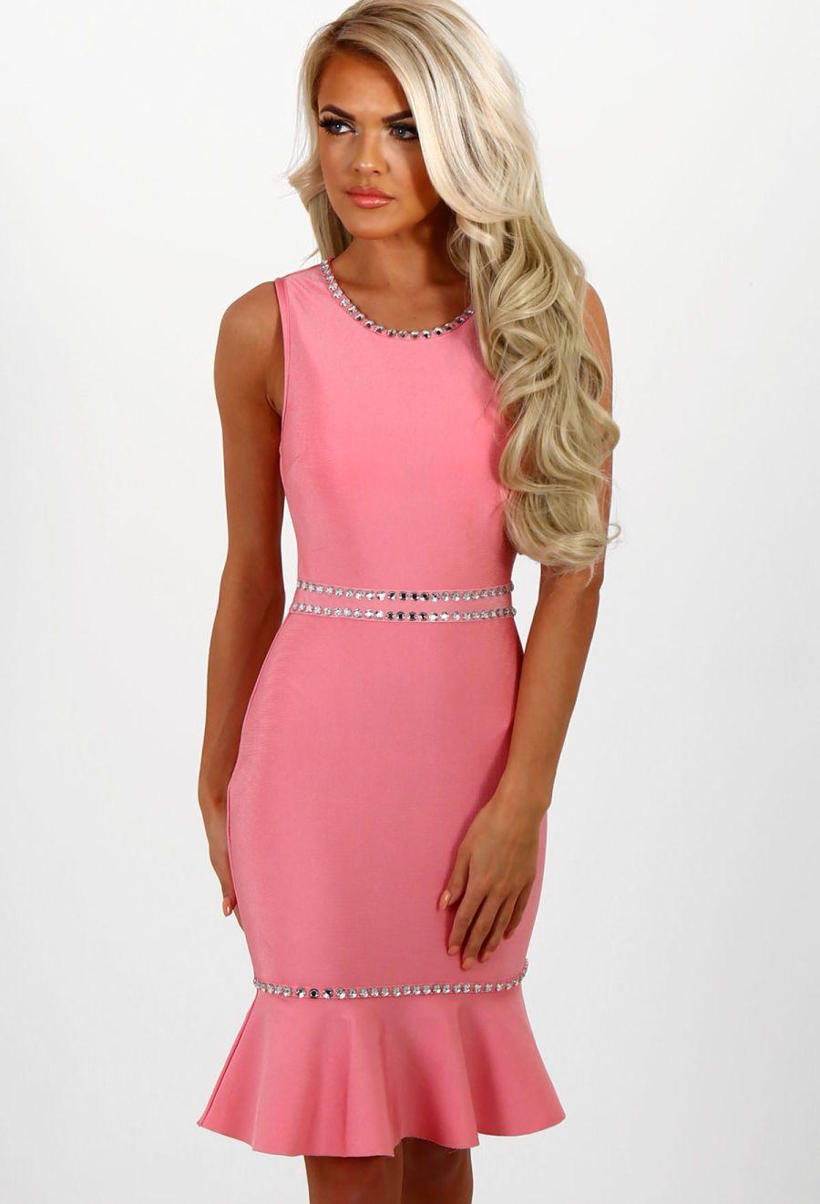 Lady marmalade pink diamante bandage mini dress mini dresses pink