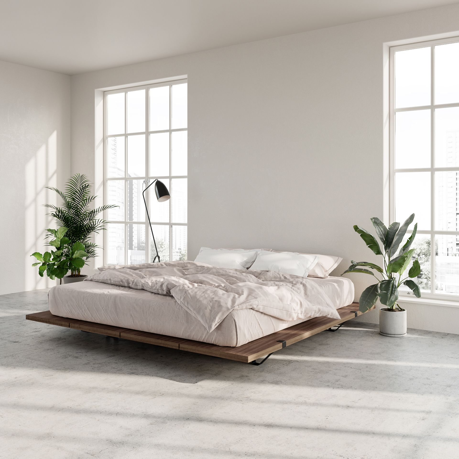 The Floyd Platform Bed in Walnut, King, White in 2020