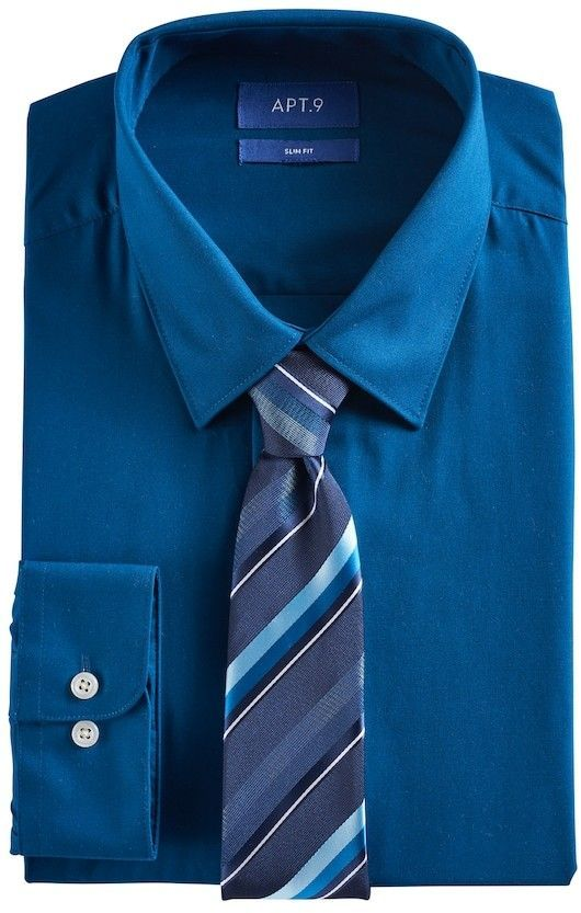 a6cf474d2a0a5 Men s Apt. 9® Slim-Fit Stretch Spread-Collar Dress Shirt   Tie Set ...