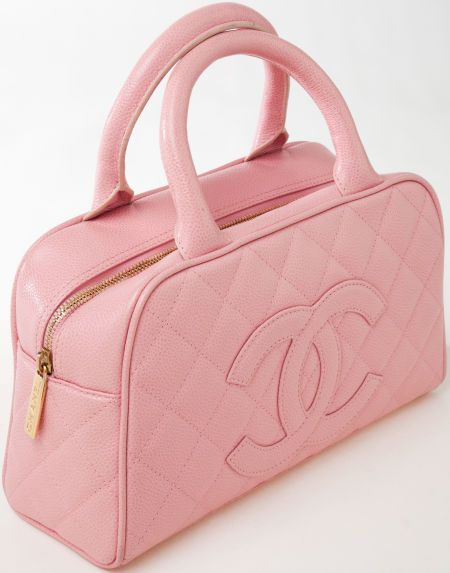 08722d3c3 Heritage Vintage: Chanel Pink Quilted Caviar Leather Small Bowling Bag with  Gold Hardware.
