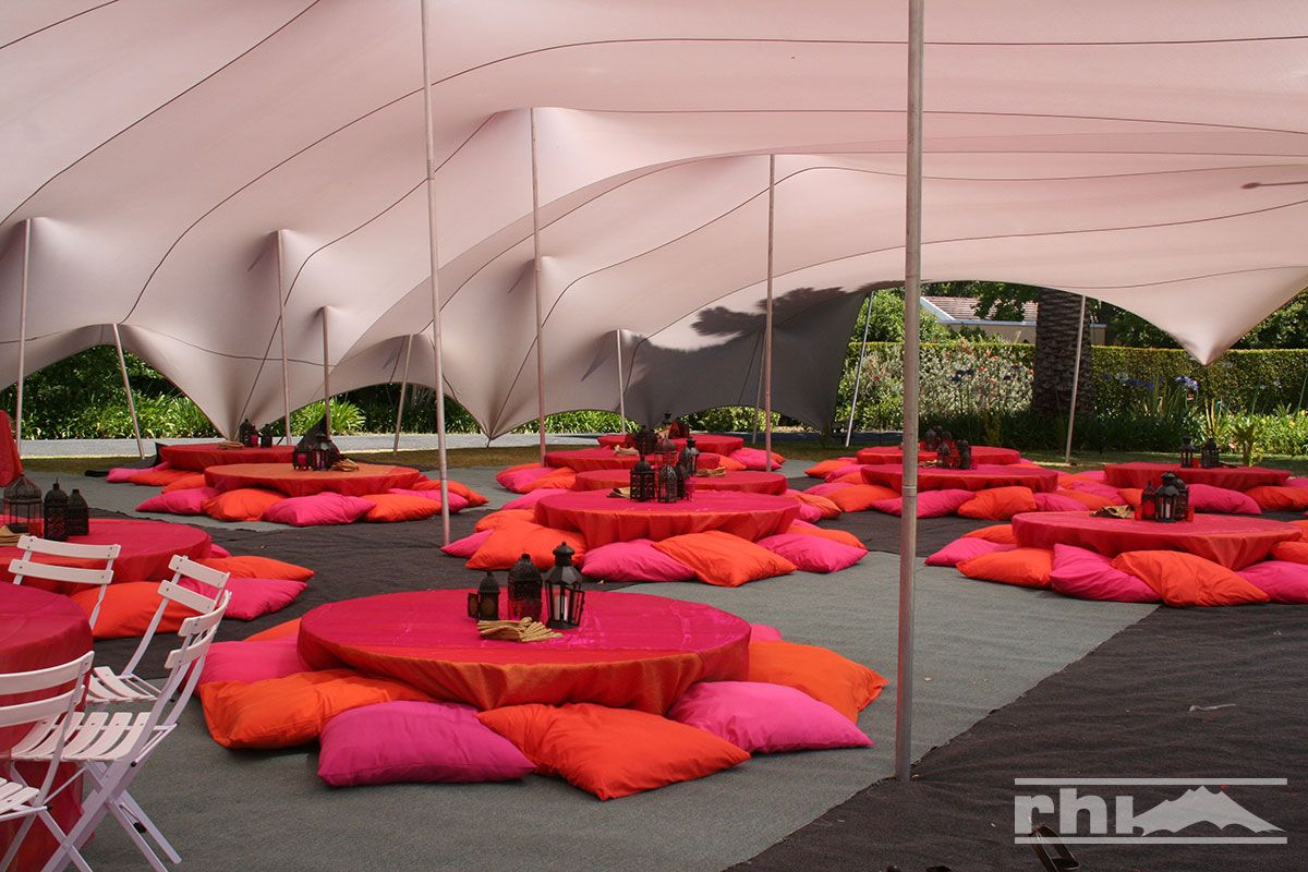 View our enchanting gallery of Stretch Tent Images and see how RHI Stretch Marquees Bedouin Tents and Custom Shade Sails take events to the next level. & Love this bright and casual seating arrangement! The perfect way ...