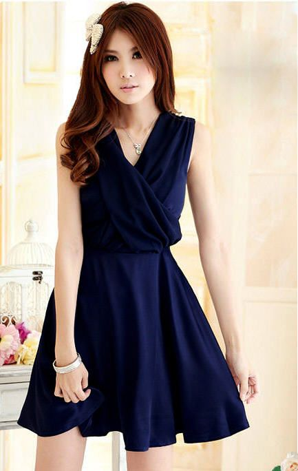 Elegant A-line Pleated Solid Crossover V-neck Chiffon Strap Dress - BuyTrends.com