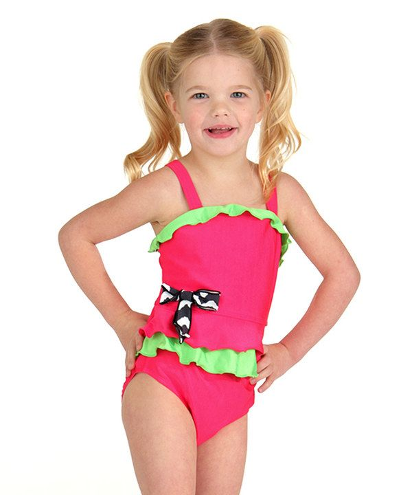 89452f2a211 Look at this Hot Pink Bow Tankini - Toddler & Girls on #zulily today ...