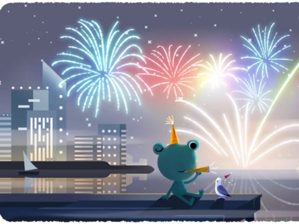 New Year's Eve 2020 Google doodle Froggy the weather frog