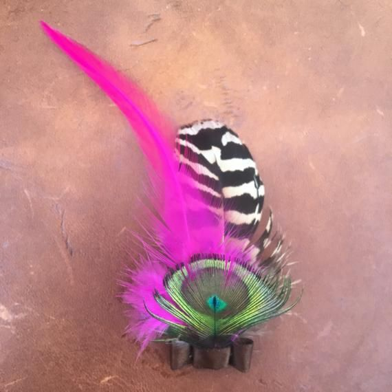 Hand Made, Small feather, hat brooch/ fascinator. Boho/ festival/ country style .Pink #fascinatorstyles