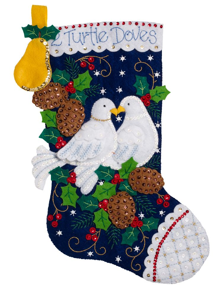 Turtle doves bucilla felt stocking kit released in may for Felt stocking decorations