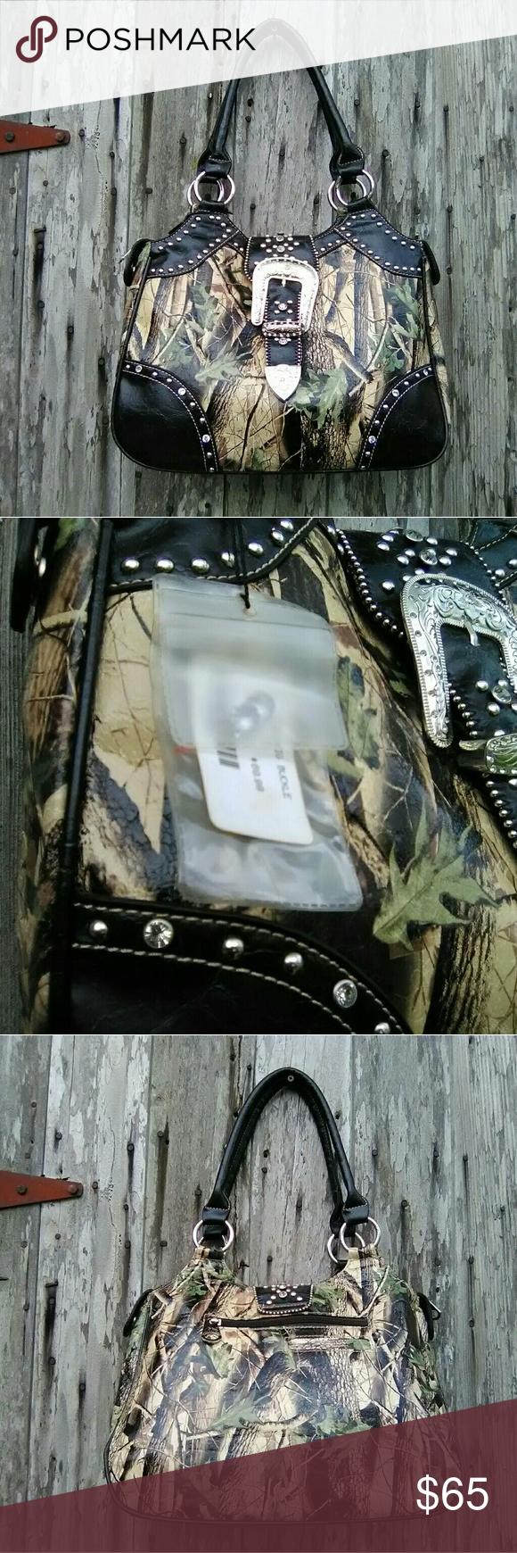 NWT Montana West shoulder bag New Montana West large leather camo print double handle shoulder bag Approximately 14 x 10 and 45 in deep Montana West Bags Hobos