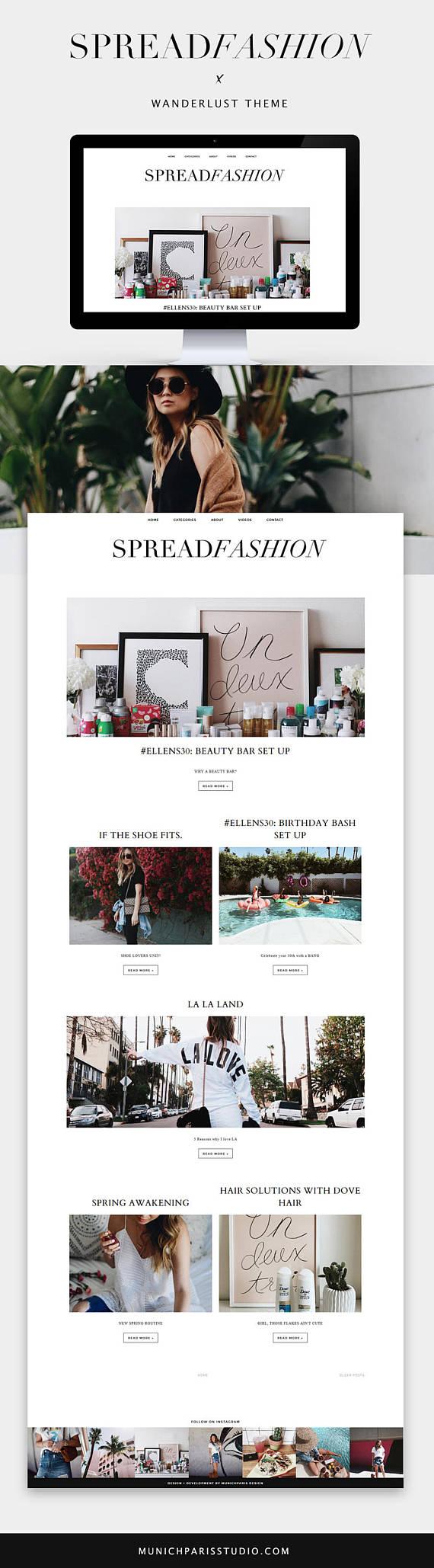 Magazine Blogger Template Wanderlust / Responsive SEO optimized ...