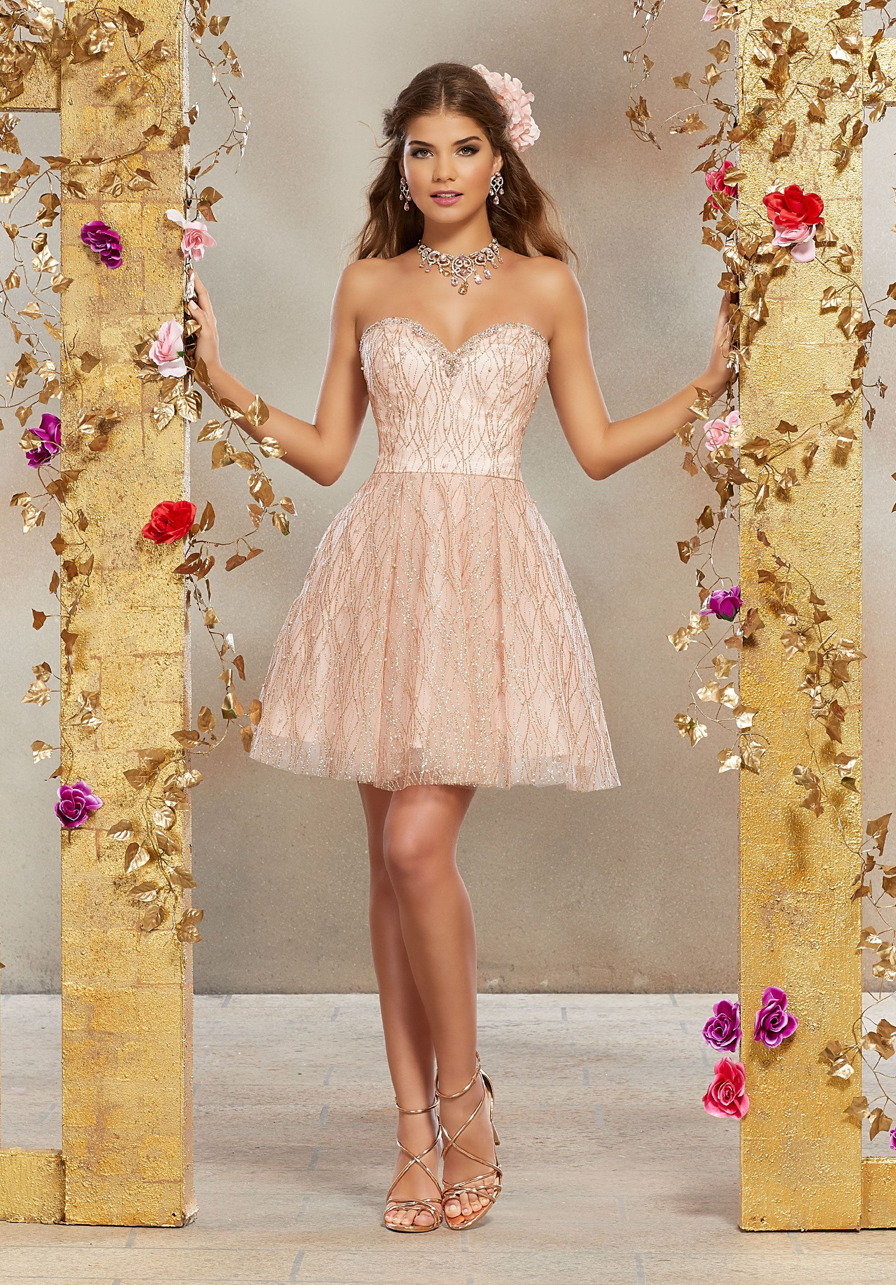 Patterned Glitter Mesh Party Dress with Rhinestone