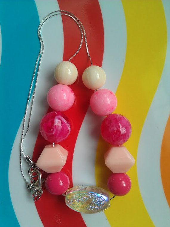 "Vintage Lucite Beaded Necklace: ""Pink"" ($28) by Avocado Eggroll"