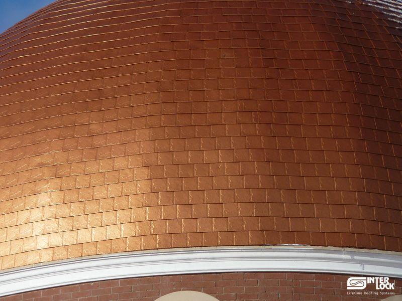 Aged Copper Interlock Slate Roof Installed On The St. Panteleimon