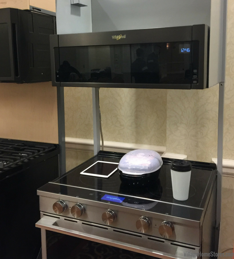The New Low Profile Microwave Hood Shown In Black Stainless Available From Whirlpool