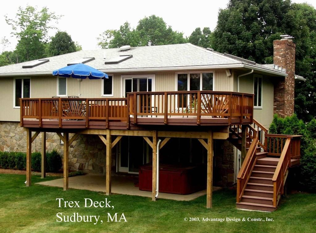 patioanddeckideas high madeira trex deck over patio sudbury - Patio Deck Design Ideas
