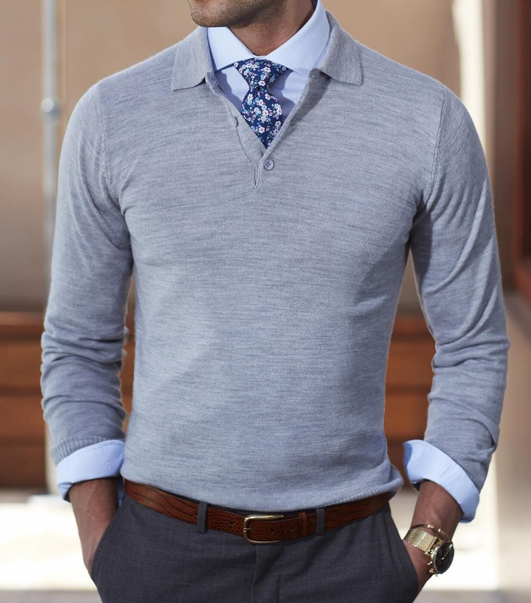 The Grey long sleeve polo over a Wedgwood cutaway shirt and ...
