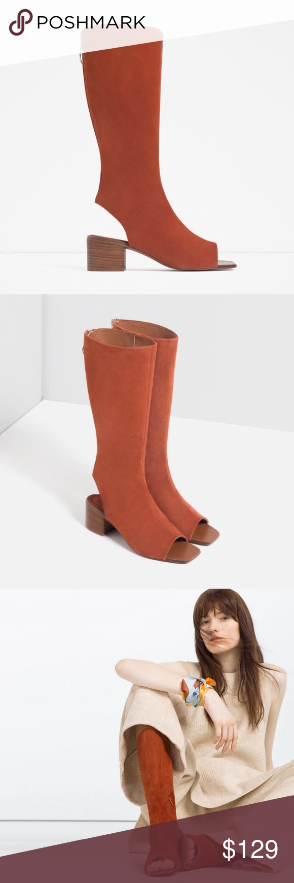Leather Ankle Boot Sandals 2109/101 Zara genuine leather sandals. Brick color 100% goat leather! Super cute sandals , brand new with tags. Sold out online!! US 8 EU 39 Zara Shoes Sandals