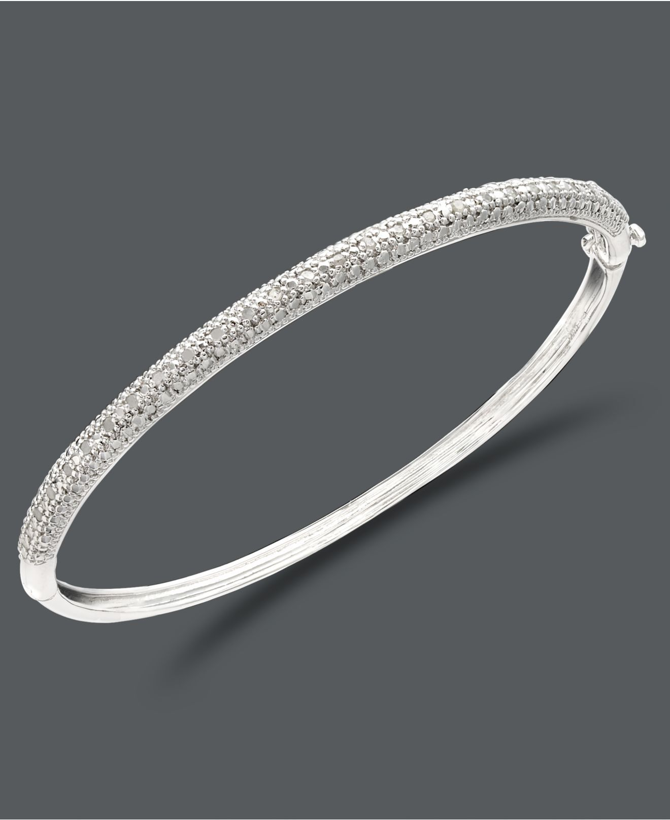 zirconia sterling bracelet cubic jewelry round bangle rhodium tennis amazon inch dp diamond cut bangles silver com