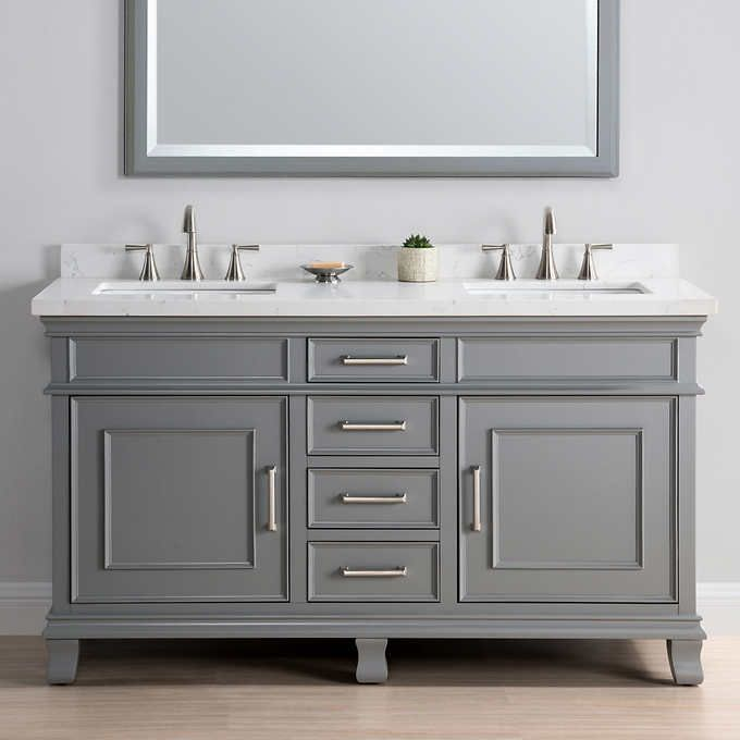 Charleston 60 Gray Double Sink Vanity By Mission Hills