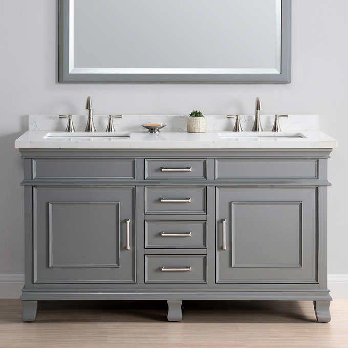 Charleston 60 Gray Double Sink Vanity By Mission Hills 1299 Guest Room Bathroom Vanity Vanity Sink Modern Bathroom Vanity