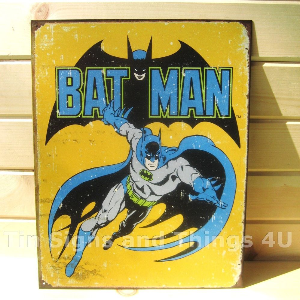 Superhero Wall Decor retro batman tin sign vtg metal poster dc comics book superhero