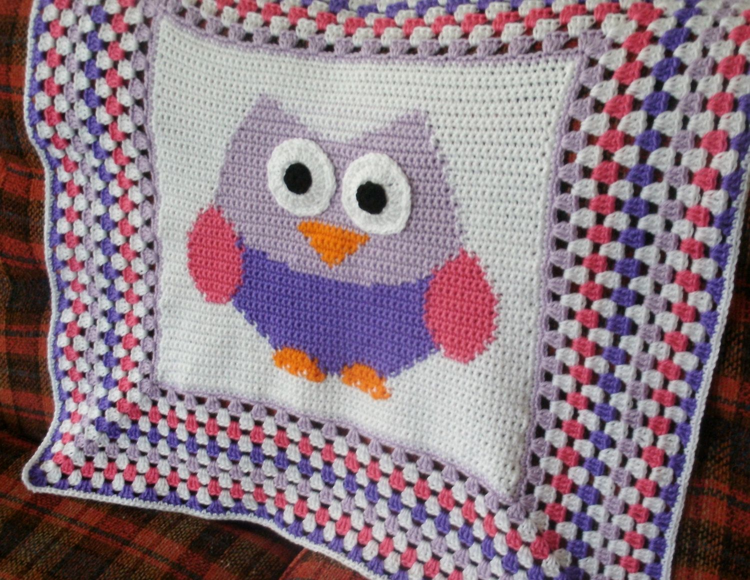 Owl baby blanket happy colors crochet baby afghan haken items similar to crochet owl baby afghan granny square border crochet baby blanket crochet throw nursery decor on etsy bankloansurffo Image collections