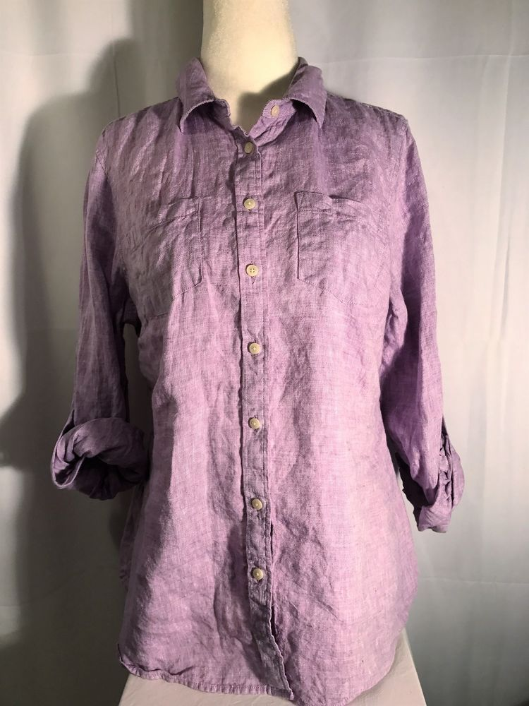 9527e17489cef4 Talbots Petites Womens Shirt Button Down 3/4 Long Sleeve Blouse Linen  Purple Mp #